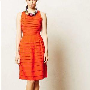Anthropologie Eva Franco Pleated Tangelo Dress